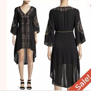 Embroidered High Low Dress Bell Sleeve Sz M $215